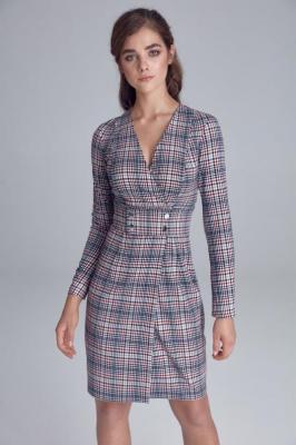 Elegancka żakietowa kopertowa sukienka w kratę