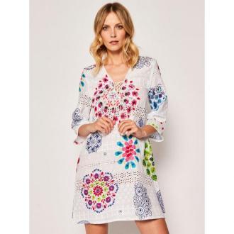 Desigual Sukienka plażowa Whitsunday 20SWMW33 Biały Regular Fit