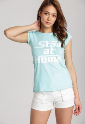 Miętowy T-shirt Loraisea