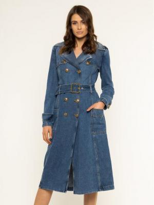 Elisabetta Franchi Sukienka jeansowa SJ-05D-01E2-V890 Niebieski Regular Fit