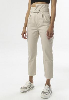 Beżowe Spodnie Paper Bag Laraiwai