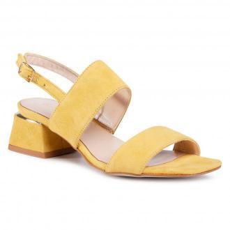 Sandały SAGAN - 3978 Żółty Welur