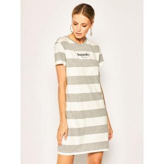 Superdry Sukienka codzienna Darcy Striped W8010018A Szary Regular Fit