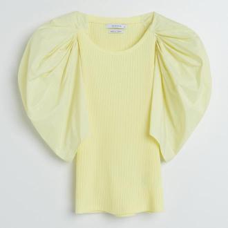Reserved - Bluzka z bufiastymi rękawami - Żółty