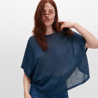 Reserved - Bluzka z szerokimi rękawami - Niebieski