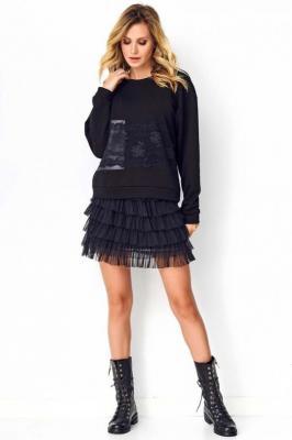 Czarna Zwiewna Tiulowa Mini Spódnica
