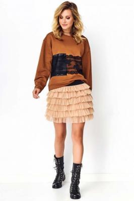 Zwiewna Tiulowa Mini Spódnica - Beżowa