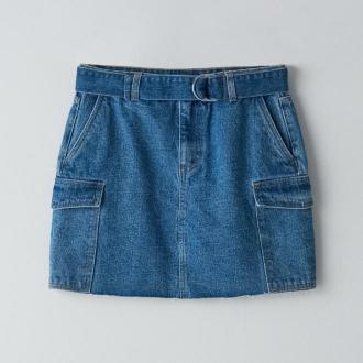 Cropp - Jeansowa spódnica z paskiem - Niebieski