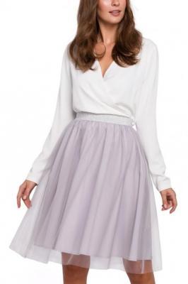 Rozkloszowana dwuwarstwowa spódnica z tiulem