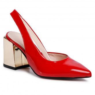 Sandały SAGAN - 4279 Czerwony Lakier