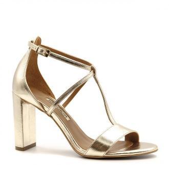 Złote skórzane sandały z paskami na wysokim słupku 33D