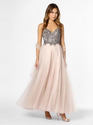 Unique - Damska sukienka wieczorowa z etolą, beżowy