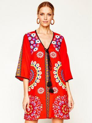 Desigual Sukienka plażowa Creta 20SWMW32 Czerwony Regular Fit