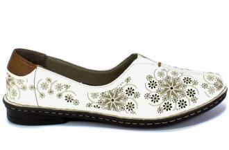 Półbuty Letnie Rieker 48456-80 Weiss Biały Skóra