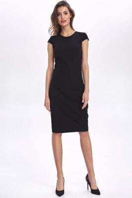 Czarna Ołówkowa Sukienka z Mini Rękawkiem