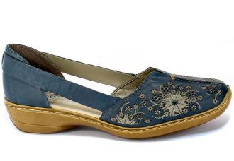 Półbuty Letnie Rieker 41396-12 Blue Granat Skóra