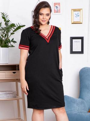 Sukienka dresowa LETNIA ze ściągaczami AGATA czarna z czerwono-złotym paseczkiem PROMOCJA