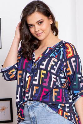 Bluzka koszulowa CELIA granatowa w kolorowe literki