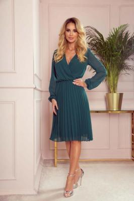 Kopertowa Sukienka z Plisowanym Dołem - Zielona