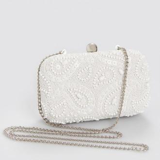 Reserved - Mini torebka z koralikami - Biały