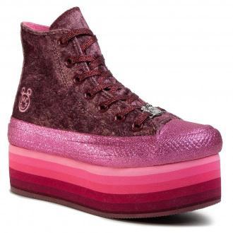 Trampki CONVERSE - Ctas Platform Hi 563725C Dark Burgundy/Pink