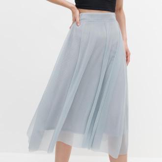 Reserved - Prążkowana spódnica - Jasny szary