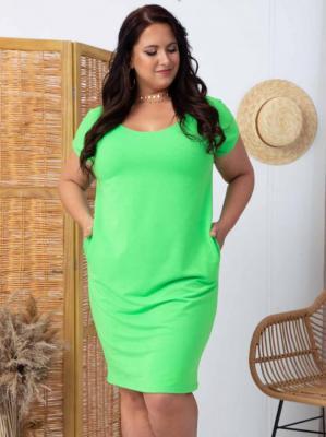 Sukienka letnia tuba dzianinowa dres XXL ANISA LETNIA neonowa zieleń PROMOCJA