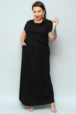 Sukienka long dzianinowa z kieszeniami PLUS SIZE IWONA czarna PROMOCJA