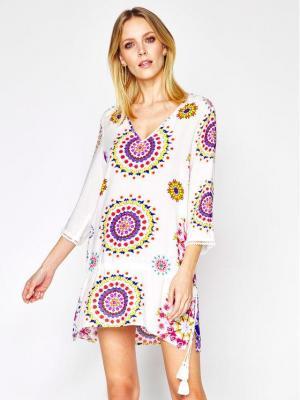 Desigual Sukienka plażowa Manly 20SWMW08 Biały Regular Fit