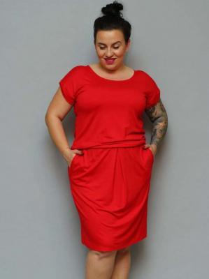 Sukienka dresowa MANAM dzianinowa gumka w talii czerwona PROMOCJA