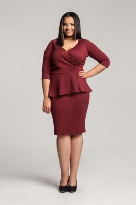DIANE II WINE sukienka z kopertowym dekoltem : Rozmiar - 48