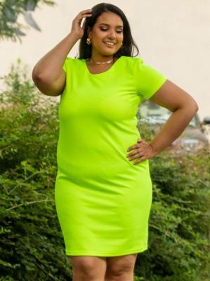 Sukienka letnia ołówkowa MARLENA LETNIA dzianinowa neon limonka PROMOCJA