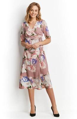 Happy Holly Sukienka Adaline lawendowy we wzory
