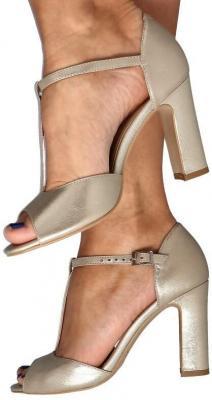 KOTYL 5935 ZŁOTY EF - Taneczne sandałki na słupku