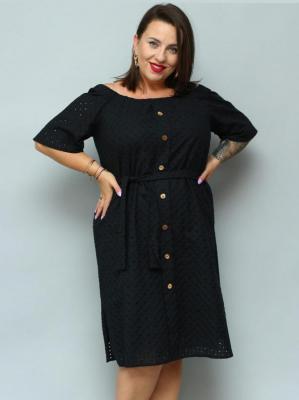 Sukienka bawełniana ażurowa hiszpanka guziki MILI czarna PROMOCJA