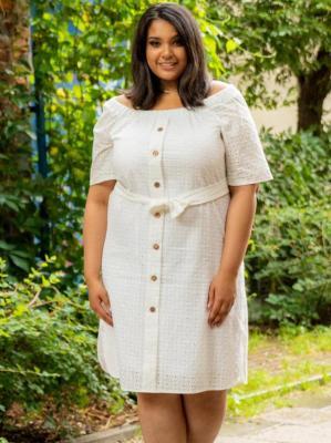 Sukienka letnia bawełniana ażurowa hiszpanka guziki MILI biała PROMOCJA