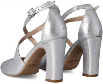 KOTYL 5905 SREBRNE - Taneczne sandałki ze skóry