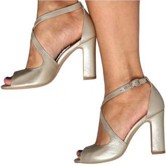 KOTYL 5905 ZŁOTY EF - Taneczne sandałki ze skóry
