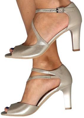 KOTYL 4347 ZŁOTY EF- Wygodne sandałki skórzane