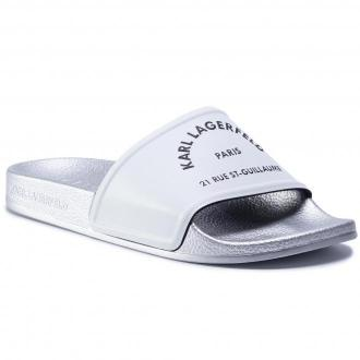 Klapki KARL LAGERFELD - KL80908 White Rubber w/Light Grey