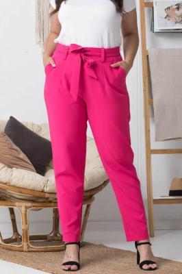 Spodnie eleganckie wiązane KOSTA amarantowe PROMOCJA