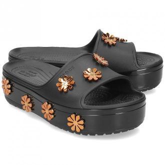 Crocs Platform Metallicblooms - Klapki Damskie - 205717 BLACK