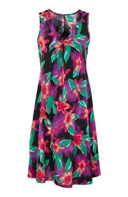 Cellbes Rozkloszowana sukienka z d?erseju z kwiatowym wzorem Czarny we wzory