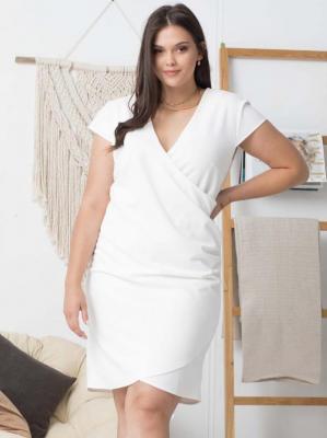 Sukienka ślubna kopertowa ołówkowa LETNIA ALANA drapowanie talii ecru PROMOCJA
