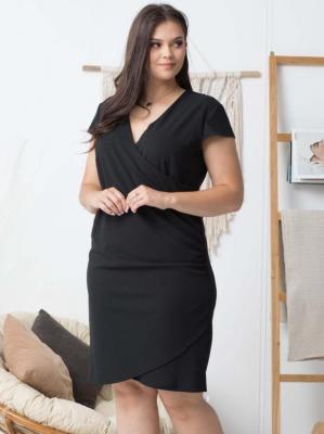 Sukienka wieczorowa kopertowa ołówkowa LETNIA ALANA drapowanie talii czarna PROMOCJA