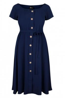CAMILLA NAVY zwiewna sukienka plus size na lato : size - 60/62