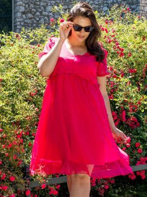 Sukienka szyfonowa RÓŻA LETNIA ozdobna falbanka amarantowa PROMOCJA