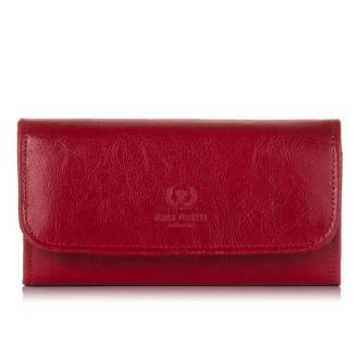 Skórzany portfel damski PAOLO PERUZZI czerwony