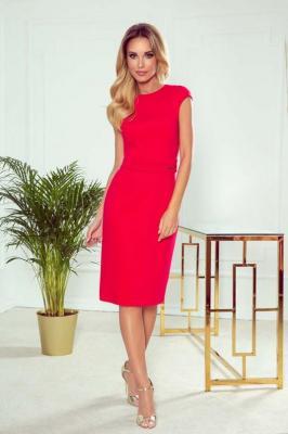 Czerwona Elegancka Ołówkowa Sukienka z Paskiem