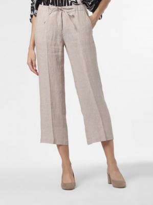 Opus - Damskie spodnie lniane – Maritta, beżowy